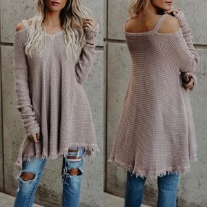 Tops - New Arrival ! Raw Edge Cold Shoulder Sweater Top